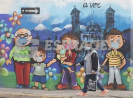 Mural que fomenta el uso de cubrebocas